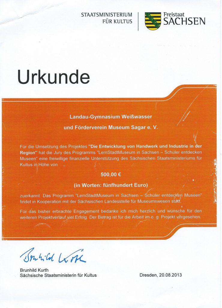 2013 Urkunde Lernstatt Museum
