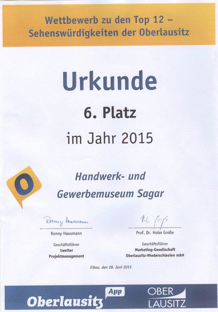 2015 6. Platz Sehenswürdigkeiten der Oberlausitz
