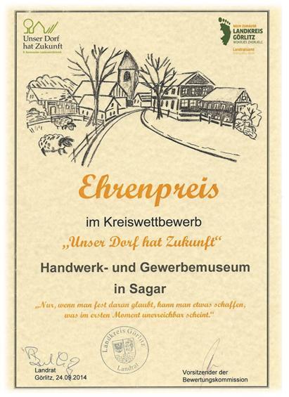 """2014 Ehrenpreis im Kreiswettbewerb """"Unser Dorf hat Zukunft"""""""