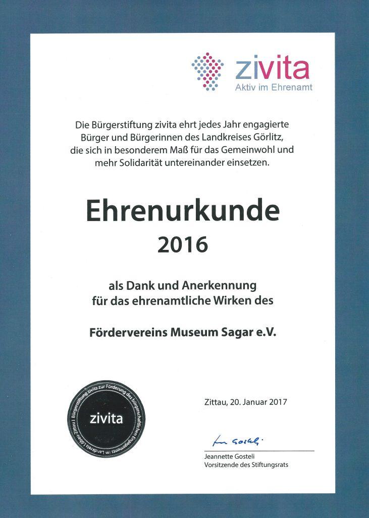 2016 Zivita Ehrenurkunde